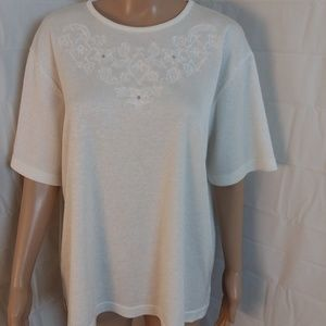 BonWorth Embellished Embroidered Short Sleeve Top